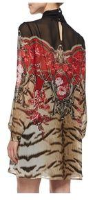 NWT Roberto Cavalli silk long sleeve tiger